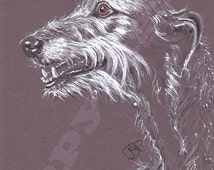 Scottish Deerhound Dog Print of Original Watercolour Painting Watercolor Animal Hound Sighthound Picture Art 5 sizes SEE DETAILS