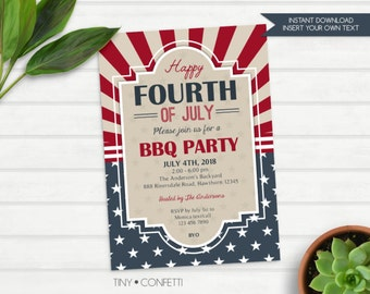 4th of july bbq party invitation, independence day party invitation, 4th of july invite, happy fourth of july, vintage, stripes, stars