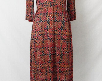 Vintage 1960's Polka Dot Shirtwaist Dress | Size Large