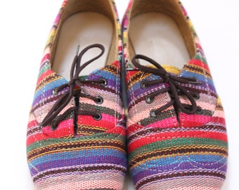 Guatemalan Textile Hupil Shoes - size 36 - size 6 womens- Handmade Keds Style Sneakers - tied laces sneakers - colorful eclectic