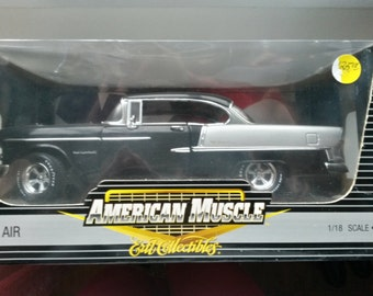 Adult Toy Car Silver Black Chevy Bel Air 1955 American Muscle Ertl Collectibles 1 18 Scale Die Cast Metal Limited Edition 1 of 2500