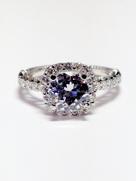 1 50CT Diamond Cushion Halo Round Diamonds Engagement Ring
