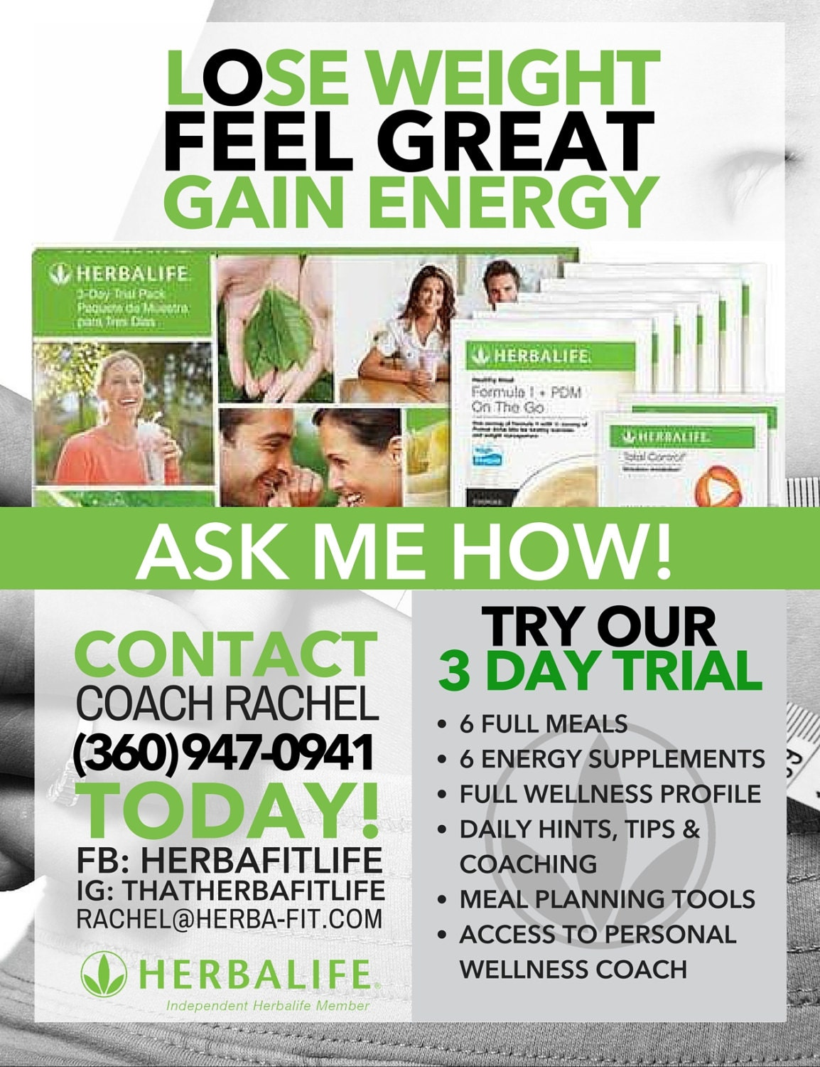 Customized Herbalife 3 Day Trial White & Green by ...