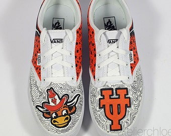 Painted Vans University of Texas shoes Longhorns Vans Custom college boots College student gift Mens Womens sneakers Fan art shoes Team gift