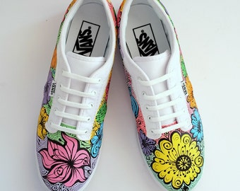Custom hand painted Vans floral personalized shoes wedding sneakers bridal vans womans painted Vans womans canvas shoes gift for woman