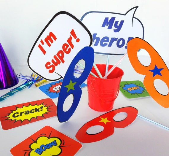 Super Hero Party Printable Photo Booth Props Easy DIY