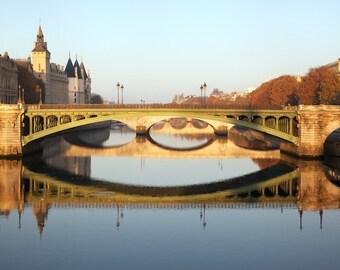 Paris photography, Seine view, Paris bridges, reflections, Paris autumn, French wall art, Paris decor, home decor, fine art print