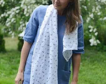 White Linen Scarf | Scarf With Anchors | Washed Linen Scarf | Women Scarves