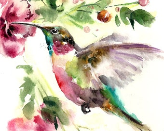 Hummingbird Painting Print, Hummingbird Painting, Bird Watercolor Painting, Bird Wall Art