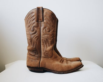 70s brown leather cowboy boots size 6/6.5