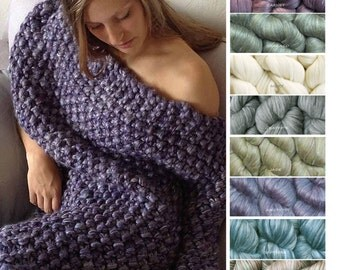 Chunky Blanket KNITTING KIT Super Bulky Thick Yarn Merino Wool Silk. #19 Circular Needles + Beginner Knit Pattern. Sasha by Living Dreams
