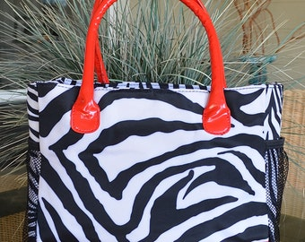 Lunch Tote, Large, Insulated, Zebra Lunch Tote with Red Accents, Monogrammed