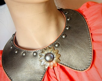 unique double layered leather statement necklace peter pan collar