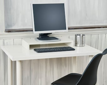 Modern Eco Friendly Monitor Stand and Computer Monitor Riser White by Way Basics