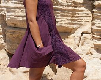 Boho A-shaped funky dress (cotton and lace) - Trpaslik (0061)