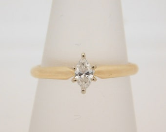 0.20 Carat Marquise Cut Diamond Solitaire Engagement Ring 14K Gold