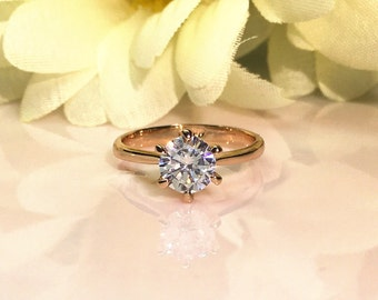 18k Rose Gold 1 ctw Round Brilliant Cut Solitaire Engagement Ring, 6 Prong, Simulated Diamond, Hand Made Bridal Ring Rose Gold Plated