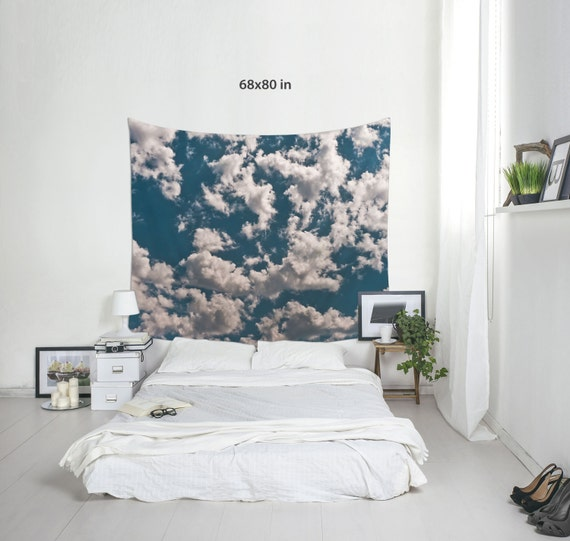 Cloud Tapestries, Blue Sky Art, Wall Decoration, Wall Tapestry, Cumulus Clouds, Color or Black & White