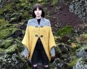 Shrug cardigan chunky knit-waer winter wear hand-knitted knit wear wool sweater coat cardigan grey yellow