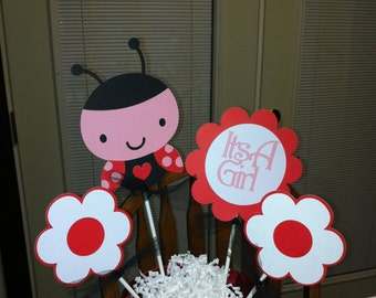 Lady Bug baby shower It's a girl centerpiece
