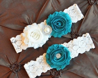 Wedding Garter ,Bridal Garter, Teal and Ivory Garter Set, Shabby Flowers Wedding Garter, Turquoise Ivory Garter, Ivory Lace Garter
