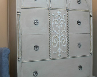 SOLD - Anemone Romantic Tall Dresser