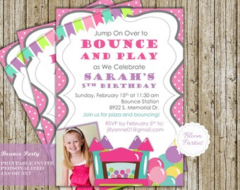 Bounce Party Invitation, Bounce House Birthday, Girls, Bounce House Birthday,Bouncy House Invite, Bounce Invitation, Printable Digital