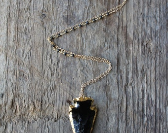 Gold Edged Black Obsidian Arrowhead Necklace