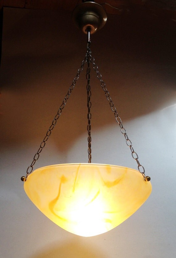 Ceiling Lights Yellow : French vintage yellow glass paste ceiling light