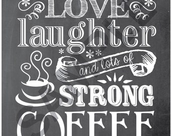8x10 Coffee Word Art Print / Sign - This home runs on love, laughter and lots of strong coffee