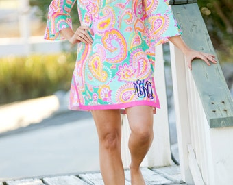 Monogram Womens Cover Up- Tunic- Beach cover up