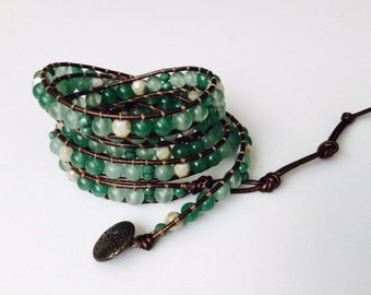 CatMar Beaded Green Aventurine and Faceted Glass Wrist Wrap Bracelet on Bronze Leather Cord with Button/Loop Closure