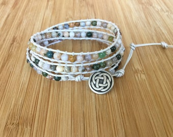 CatMar Classic Beaded  Ocean Jasper Wrap Bracelet with Pearl White Leather and Celtic Knot Button