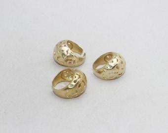 1 Pcs Raw Brass Flower Rings, 18mm Adjustable Ring, Brass Adjustable Ring , LA46