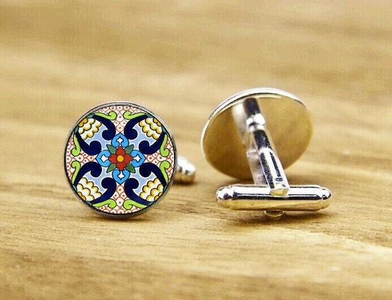 Folk Art Flower Tile Cufflinks, Personalized Cufflinks, Art Flower, Custom Wedding Cufflinks, Round, Square Cufflinks, Tie Clips, Or Set