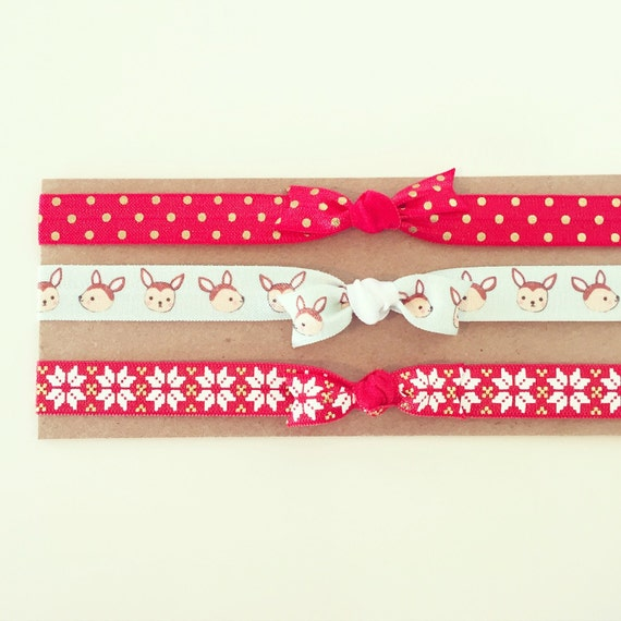 Rudolph Red Christmas Knot Bow Headbands | Red + Gold Holiday Knot Bow Headbands for Baby Toddler Girls, Christmas Reindeer Nordic Fair Isle