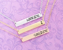 Semicolon - Engraved Personalized Bar Necklace - Rose Gold - Gold - Monogram - Initials - Custom Engraving - Stainless Steel