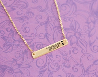 Semicolon - Engraved Personalized Bar Necklace - Graduation - She Believed She Could So She Did - Custom Engraving - Stainless Steel