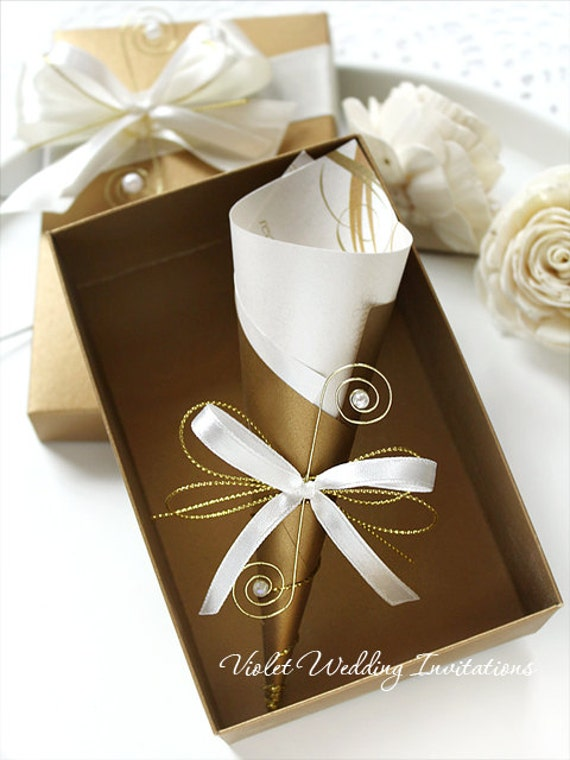 Gold Metal Scroll Wedding Gift Card Box : Scrolls, Gold Ivory Ribbon Invitations and Decorated Boxes, Gold ...