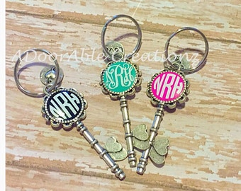 Monogram Key Chain, Skeleton Key Key Chain