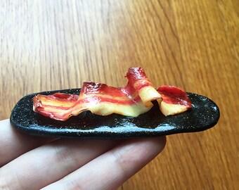 Bacon Sculpture 'Endless Love' - Bacon Art - Food Sculpture - Polymer Clay Crispy Bacon - Miniature Art - Original Sculpture - Food Art