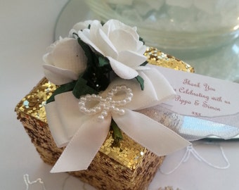 Personalised Gold Glitter wedding favour box chocolate filled and ready assembled