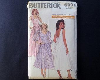 1988 Fit & Flare Dress Uncut Vintage Pattern, Butterick 6001, Size 6, 8, 10, Bust 30, 31, 32