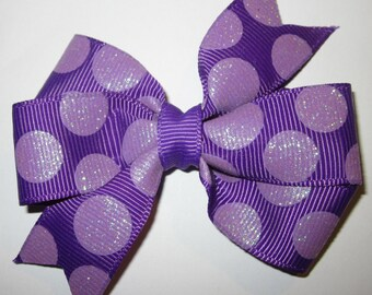 Purple Hair Bow, Purple Polka Dot Hair Bow, Toddler Hair Bow, Toddler Purple Hair Bow, Girls Purple Hair Bow, Girls  Purple