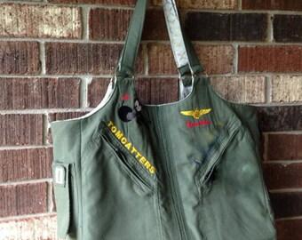 Tote, Bag, Purse, handbag, diaper bag, repurposed flight suit, military uniform bag