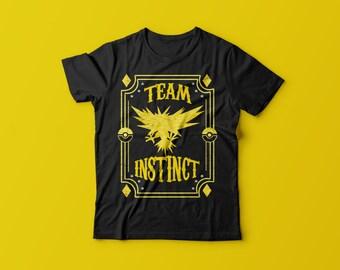 Team Instinct, Yellow Team, Gym, Unisex, Shirt, Top, Pokemon, Badge, Evolution, Lightning, Type, Tee Shirt, Zapdos, Pokemon Go, Spark