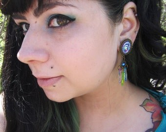 "Peacocks Tail colorful dangle stretched earrings EAR PLUGS pick gauge 2g, 0g, 00g, 1/2"", 9/16"", 5/8"", 11/16"" aka 6, 8, 10, 12, 14, 16, 18mm"