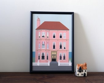 House illustration print A4 - dogs and cats -  pets - wall art - home decor - Art print - Illustration - pink house - home - poster