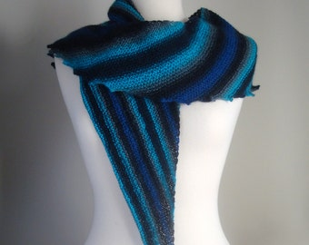 Hand Knit Blue Triangular Scarf, Knit Blue Shawl, Striped Knit Shawl, Multicolor Knit Shawl, Degrade Color Shawl, Fine Yarn Knit Shawl