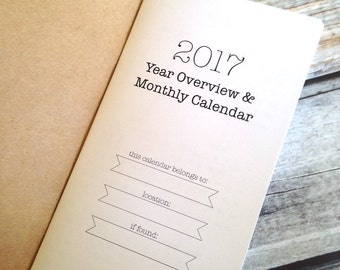 2017 MONTHLY Dated Calendar - Available in 8 sizes